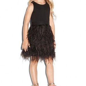 Milly kids size 3 black feather dress brand new
